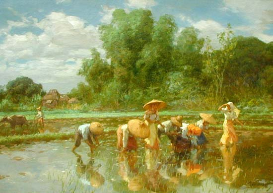 "Fernando Amorsolo ""Planting Rice"" 1951"